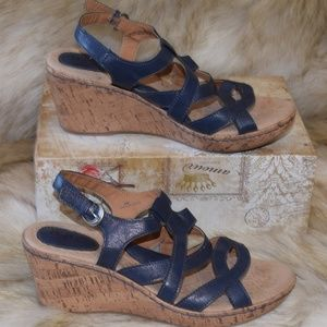 BOC BORN Cork Wedge Blue Leather Sandals Sz 9 EUC